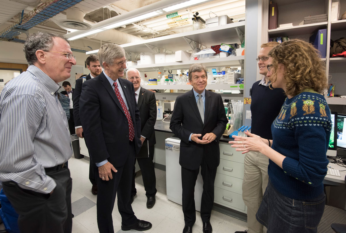 Washington University graduate student Laura VanArendonk Blanton talks about her work in Jeffrey Gordon's lab at the School of Medicine. Listening are (from left) NIH Director Francis S. Collins; Larry J. Shapiro, MD; U.S. Sen Roy Blunt; and fellow graduate student Mark Charbonneau. The group was on a tour of medical school facilities.