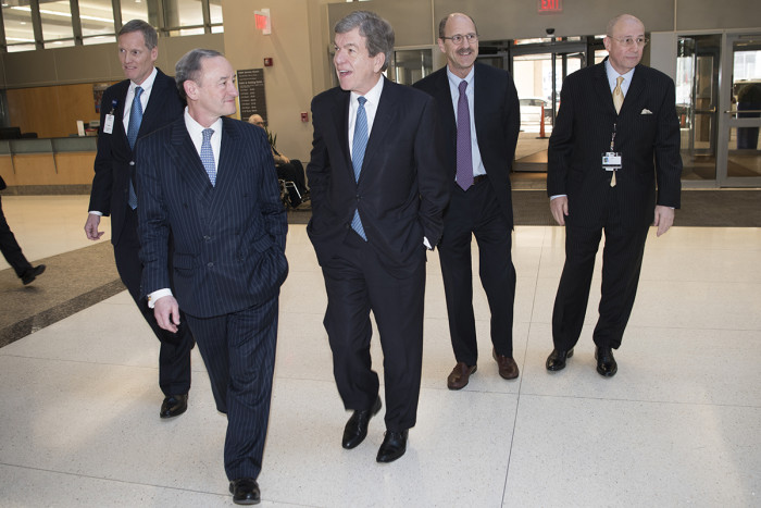 University leaders visit with U.S. Sen. Roy Blunt, R-Mo., Jan. 5 on the Medical Campus. From the left are Bob Cannon, xx, Chancellor Mark S. Wrighton; Blunt; David H. Perlmutter, MD, executive chancellor for medical affairs and dean of the School of Medicine; and Tim Eberlein, MD, ..