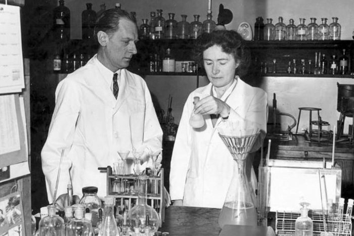 Carl and Gerty Cori at work in their laboratory.