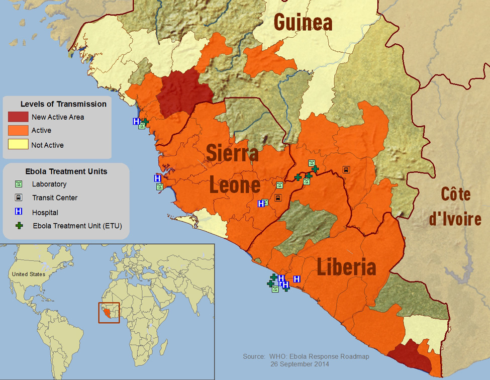 2014 West African Ebola outbreak distribution map. The current outbreak is located mainly in the West African countries of Guinea, Sierra Leone and Liberia. Image courtesy of the Centers for Disease Control and Prevention/World Health Organization.