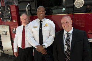 The St. Louis Fire Department and Washington University partnered in a training program in late June on the Medical Campus. From the left are Bruce Backus of the Office of Environmental Health and Safety; Deputy Chief and Fire Marshal Charles Coyle of the fire department; and Ty Davisson, emergency management program director with the School of Medicine's Facilities Management Department.