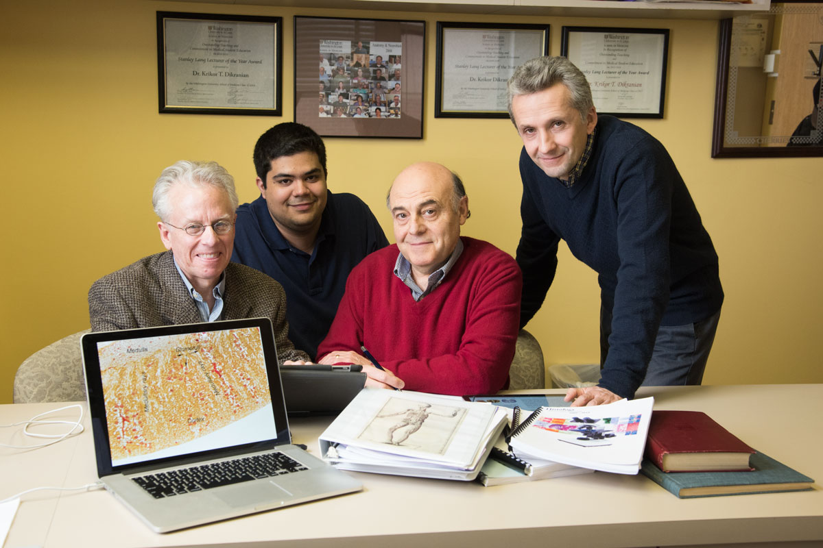 A team at the School of Medicine has created medical textbooks in iBook form. The team includes (from left) coauthor Paul Bridgman, PhD; MD-PhD student Gary Grajales-Reyes; coauthor Krikor Dikranian, MD, PhD; and electronic technician Valentin Militchin.