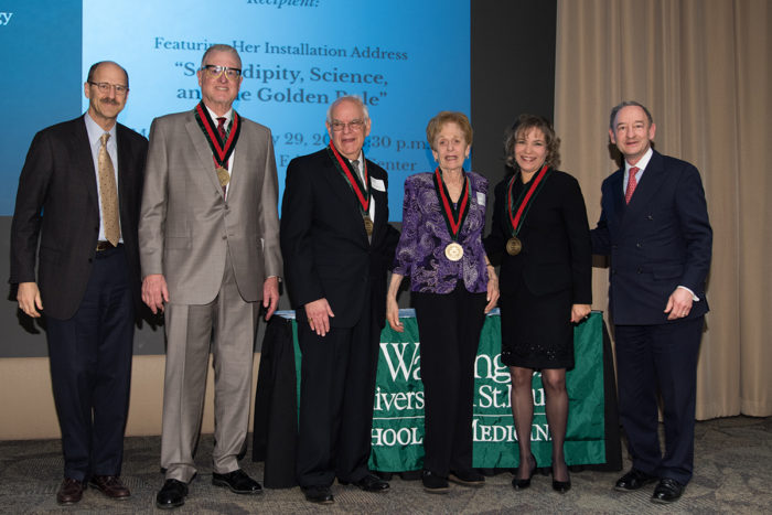 "(From left) David H. Perlmutter, MD, executive vice chancellor for medical affairs and dean of the School of Medicine, Jeffrey Fort, Allan Kolker, MD, Jacquelyn Kolker, Carla Siegfried, MD, and Chancellor Mark S. Wrighton after Siegfried's lecture, entitlted ""Serendipity, Science, and the Golden Rule."""