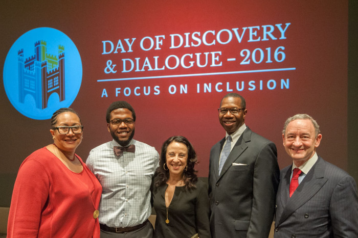 Lawrence Benjamin was among those who led discussions on diversity and inclusion during Washington University's Day of Discovery & Dialogue in February. From the left are: Vice Provost Adrienne Davis; Benjamin; Maria Hinojosa, award-winning NPR and PBS journalist; Will Ross, MD, associate dean for diversity; and Chancellor Mark S. Wrighton.