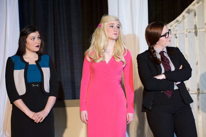 "From the left are ""Legally Blonde"" student-performers Tania Lebratti, Hayley Charlton and Caroline Wentworth."