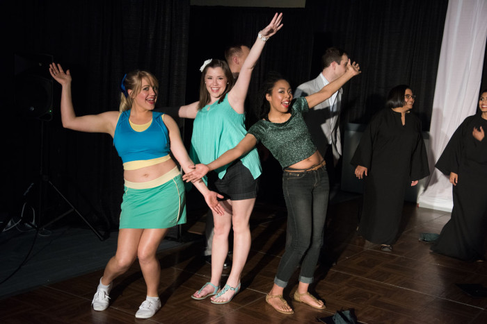 "From the left, ""Legally Blonde"" student-performers are Ann Zerfas, Bailey Hall and Razeema Umrani."