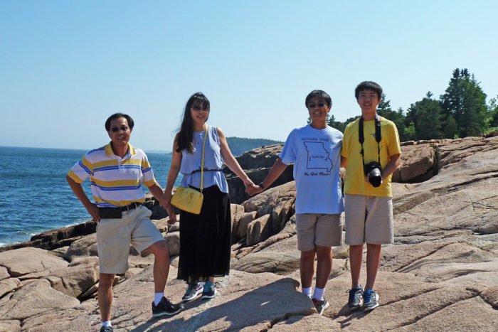 Li Ding, PhD, and her family on vacation earlier this year in Acadia National Park. From left, her husband, Feng Chen, PhD, Ding, and their sons, Justin, 16, and Winston, 13.