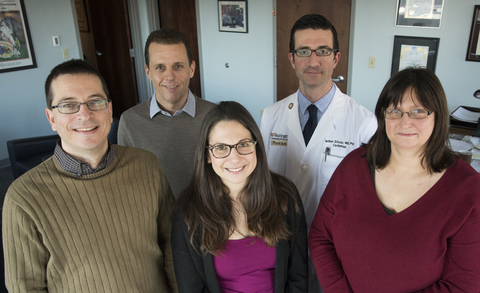 McDonnell Genome Institute researchers. Back row left to right Ira Hall, Nathan Stitziel Md PhD. Front row left to right Dan Koboldt, Karyn Meltz-Steinberg PhD and Lucinda Fulton.