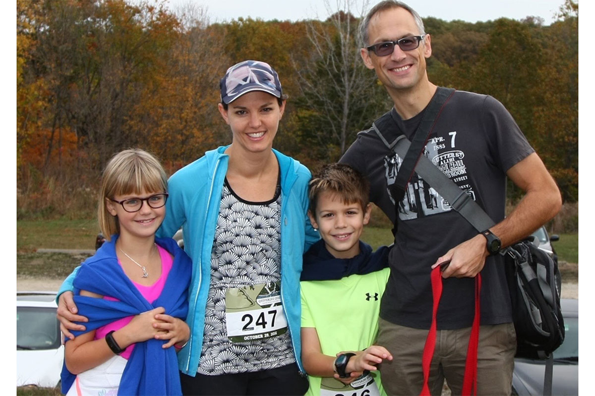 Audrey Odom John, MD, PhD, enjoys running marathons with her family. She is shown with her daughter, Tamsin, 9 (left); son, Gavin, 11; and husband, Antony John.