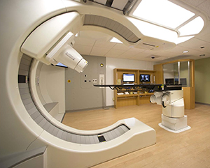 The world's first compact proton beam accelerator at Siteman's S. Lee Kling Proton Therapy Center. The technology allows radiation oncologists to control the depth, shape and dose of radiation beams with great precision. Photo credit: Mevion Medical Systems.