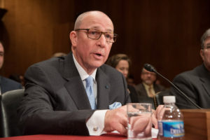 Timothy J. Eberlein, MD, testifies before a U.S. Senate subcommittee March 8 in Washington regarding federal funding for medical research.