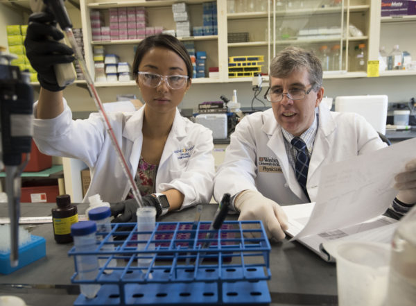 Linda Jin, MD, a general surgery resident, and William Hawkins, MD, a professor of surgery, both at Washington University School of Medicine in St. Louis, work in the lab. Hawkins is principal investigator of a $10.4 million grant aimed at developing new treatments for pancreatic cancer.