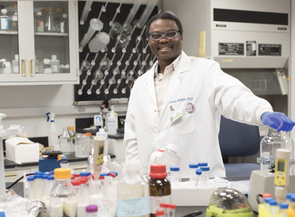 Samuel Achilefu, PhD, (shown) a scientist at Washington University School of Medicine in St. Louis, is the first recipient of the Breast Cancer Research Program Distinguished Investigator Award, from the U.S. Department of Defense. As part of the award, Achilefu will receive $4.5 million to support his work to use light to activate drugs and the immune system in the body.