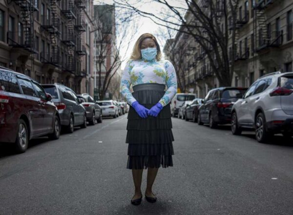 Tiffany Pinckney -- photographed in Harlem -- became one of the country's first survivors to donate her blood to help treat other seriously ill patients.