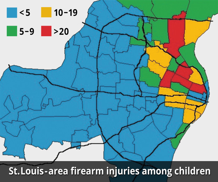 This ZIP code map highlights firearm-related injuries from 2008 to 2013 among children treated at St. Louis Children's Hospital and Cardinal Glennon Medical Center. While research findings indicate no ZIP code is immune to such incidents, the highest frequency of shooting-related injuries occurred in the city of St. Louis and in north St. Louis County. This map shows the Missouri side of the greater St. Louis metropolitan area.