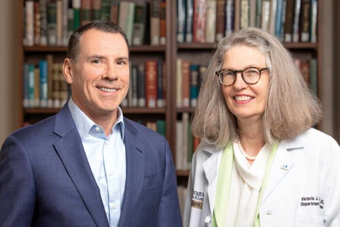 Lee Kling and Victoria Fraser, MD, smile for a photograph