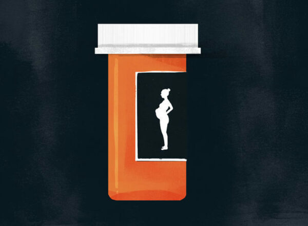 Illustration of a prescription bottle with the silhouette of a pregnant woman on the label. The bottle is foregrounded on a dark, nebulous background.