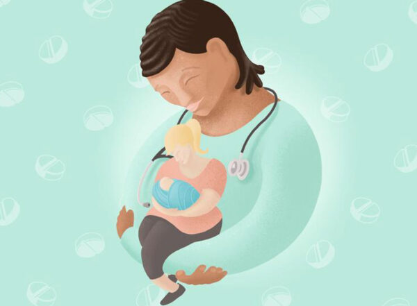 Illustration shows a woman with a stethoscope cradling a woman who is cradling a baby.