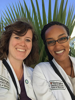 Rahel Ghenbot (right) and fellow Washington University medical student Chelsea Kebodeaux take a moment for a photo together at Ayder Referral Hospital in Mekelle, Ethiopia. Ghenbot soon will begin her residency training at Ohio State University Wexner Medical Center; Kebodeaux will begin hers at Christiana Care in Newark, Delaware.