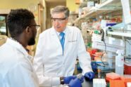 Robert D. Schreiber, PhD, right, consults with doctoral student Samuel O. Ameh in a lab.