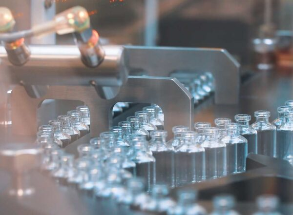 Glass vaccine vials in production line