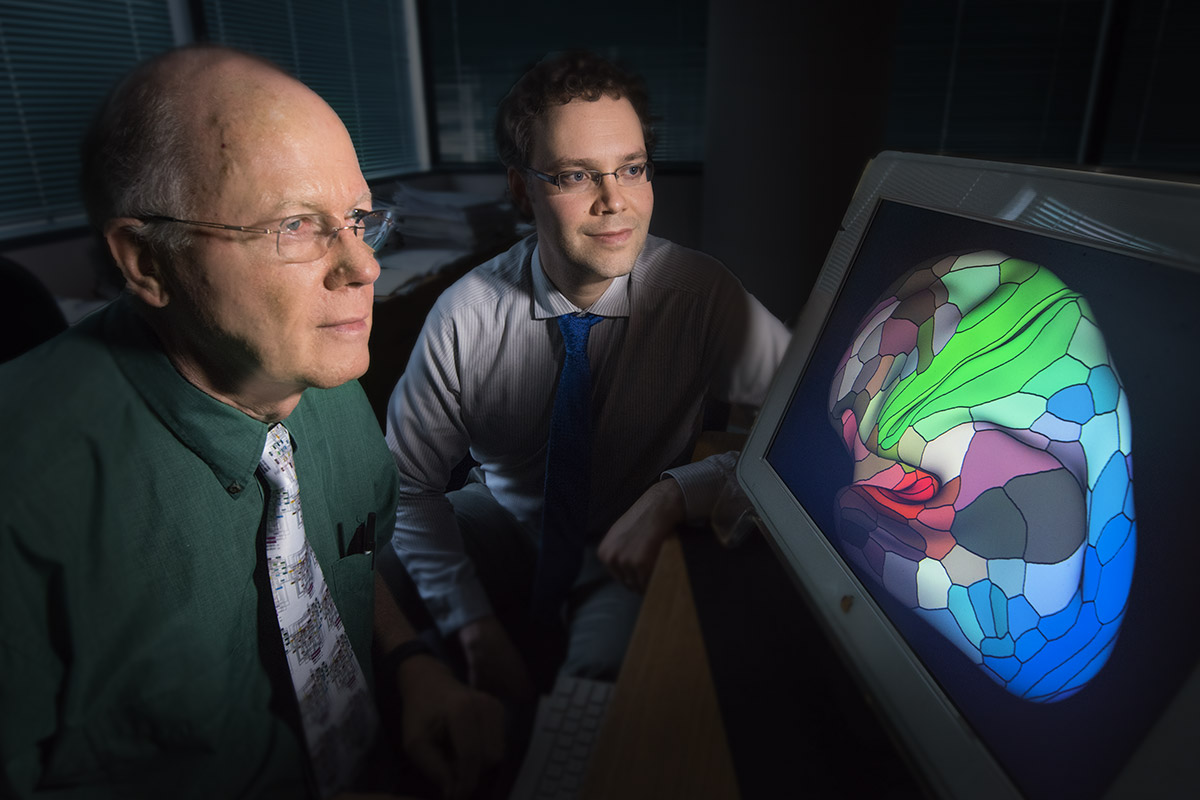 David Van Essen, PhD (left), and Matthew Glasser, PhD, are part of a team that mapped the human cerebral cortex in painstaking detail. The map will help researchers study brain disorders such as autism, schizophrenia, dementia and epilepsy.