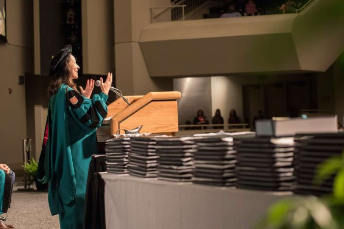 Dr. Leana Wen addressing the graduates